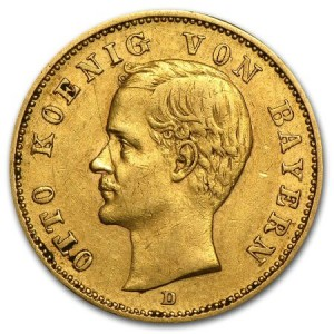 obverse side of the King Otto 20 Mark gold coin