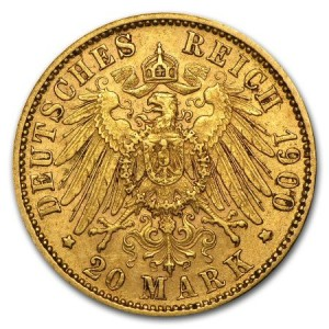 reverse side of the King Otto 20 Mark gold coin