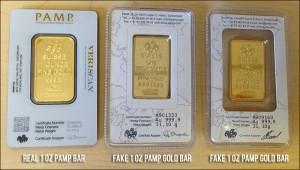 2 counterfeit PAMP Suisse gold bars and 1 real one
