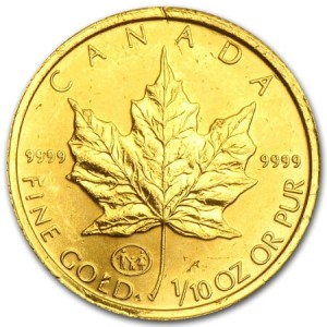 2nd best-selling gold coin 2015, the Canadian Maple Leaf gold coins