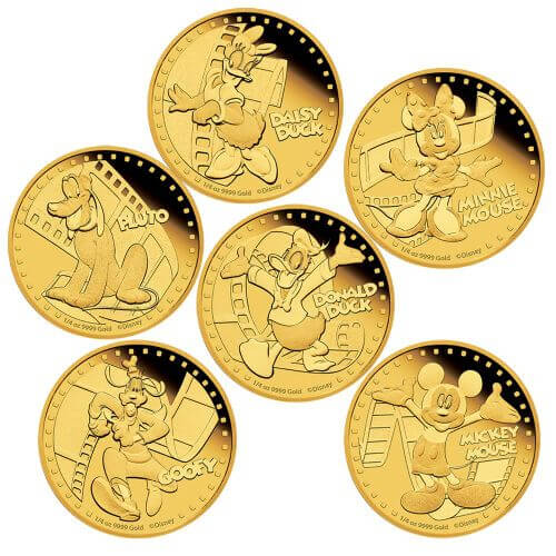 reverse sides of the Mickey & Friends Disney gold coins