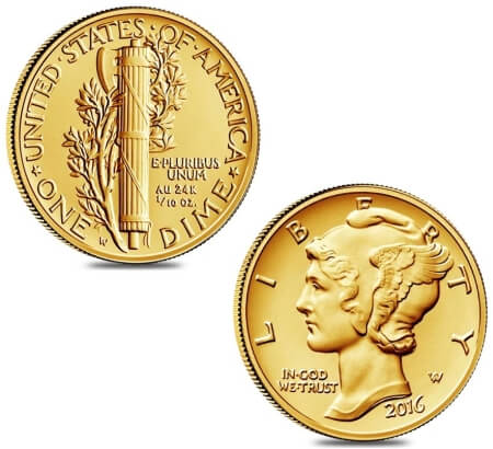 Winged Liberty Dime centennial gold coins