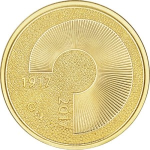 obverse side of the Centenary of Independence Finnish gold coins