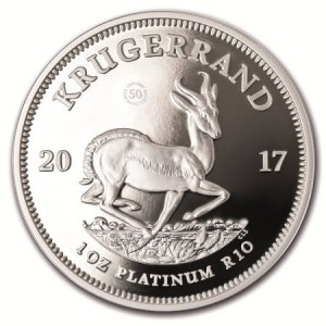 reverse side of the platinum edition of the 50th Anniversary South African Krugerrands