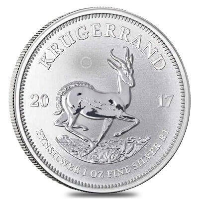 reverse side of the silver edition of the 50th Anniversary South African Krugerrands