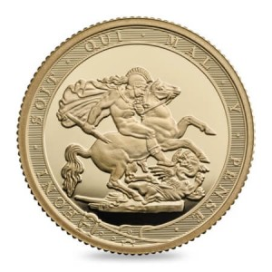 reverse side of the proof 2017 Gold Sovereign's 200th anniversary edition