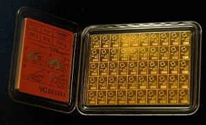 this 50 gram Valcambi Suisse CombiBar can easily be broken up into 50 small gold bars of 1 gram each