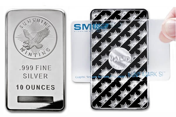 the Sunshine Mint sells all its precious metal bullion products with security features like the MintMark SI™