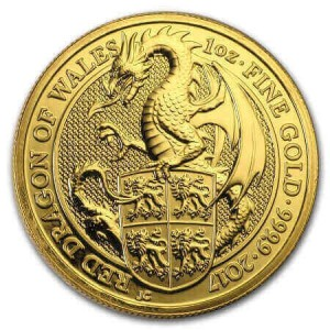 the 3rd Queen's Beasts gold coin shows the Red Dragon of Wales on its reverse