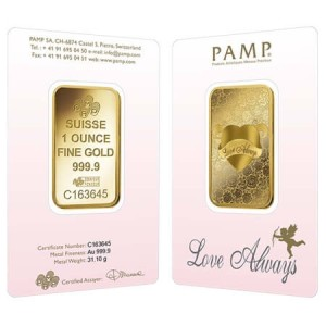PAMP Suisse's love-themed gold bars make a unique Valentine's Day gift!