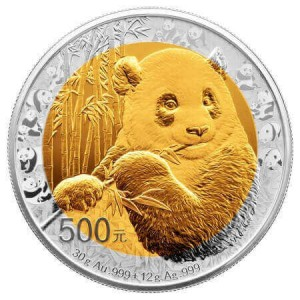reverse side of the bimetallic Chinese Panda coin