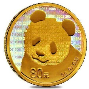 of the 3 commemorative Chinese Panda coins, the golden one is the smallest