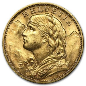 Both the historic 10 and 20 Franc Swiss gold coins display this image of an allegorical female figure on their obverse