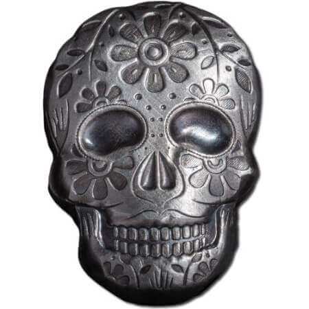 this 2 oz Day of the Dead silver skull is one of the more unusual silver gifts you could buy for this Christmas