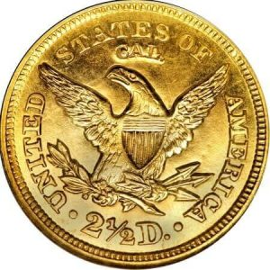 reverse side of the CAL issue of the 1848 Liberty Quarter Eagles