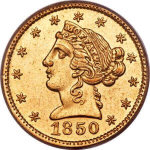 Rare US gold coins like the 1850 $5 Moffat gold coin are cherished by collectors worldwide