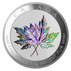 "the 1 kg ""Maple Leaf Forever"" holographic coin out of 99.99% fine silver is still available for purchase online"