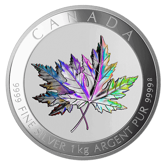 "the 1 kg Silver ""Maple Leaf Forever"" holographic coins are still available for purchase online"