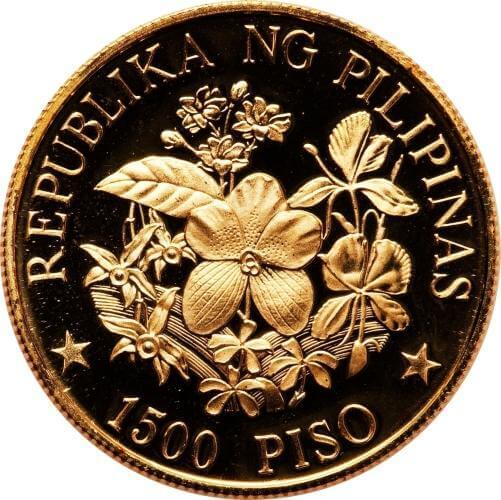 the flower motif on the 1,500 Piso gold coin from 1978 shows perhaps the most beautiful design of all Philippine gold coins