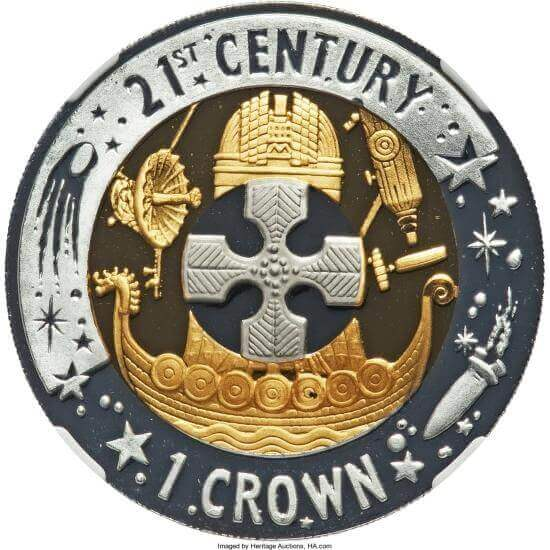 reverse side of the 1 Crown coins - the world's only precious metal trimetallic coins