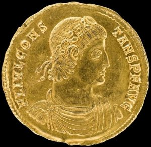 obverse side of the discovered Multiplum unique gold coin