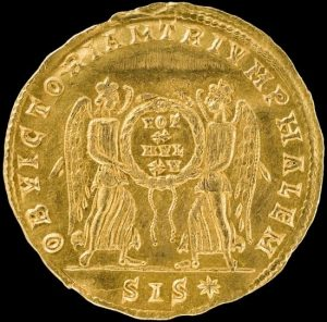 reverse side of the discovered Multiplum unique gold coin