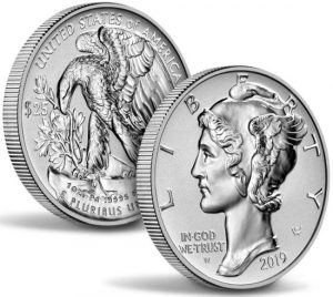 the 2019 reverse proof Palladium Eagles display polished designs and frosted backgrounds