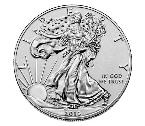 obverse side of the 2019 1 oz enhanced reverse proof American Silver Eagles