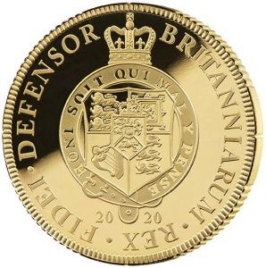 reverse side of the 2020 proof English Gold Guinea that is issued as a commemorative proof coin by the East India Company