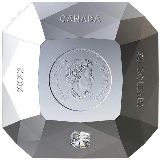 This 3 oz diamond-shaped silver coin that has a real diamond embedded is unfortunately already sold out