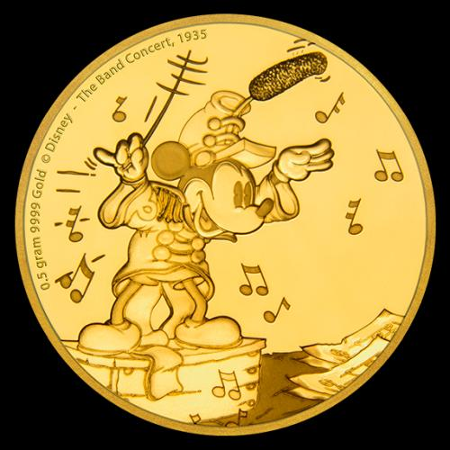reverse design of the 1st of the 5 Mickey Mouse gold coins of the 'Mickey through the Ages' coin series