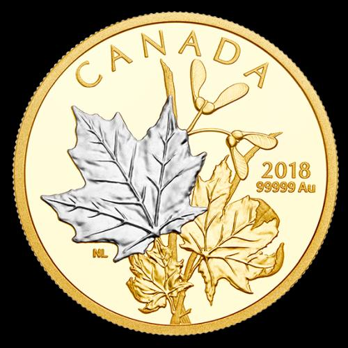 selective platinum plating on one of the two 99.999% pure gold coins that make up the 2018 Enchanting Maple Leaves coin set