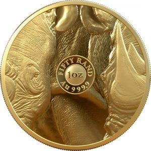 reverse side of the latest limited mintage proof issue of the South African Big Five Series