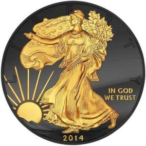 This modified 2014 American Silver Eagle is a part of Allcollect's Golden Enigma series of modified bullion coins