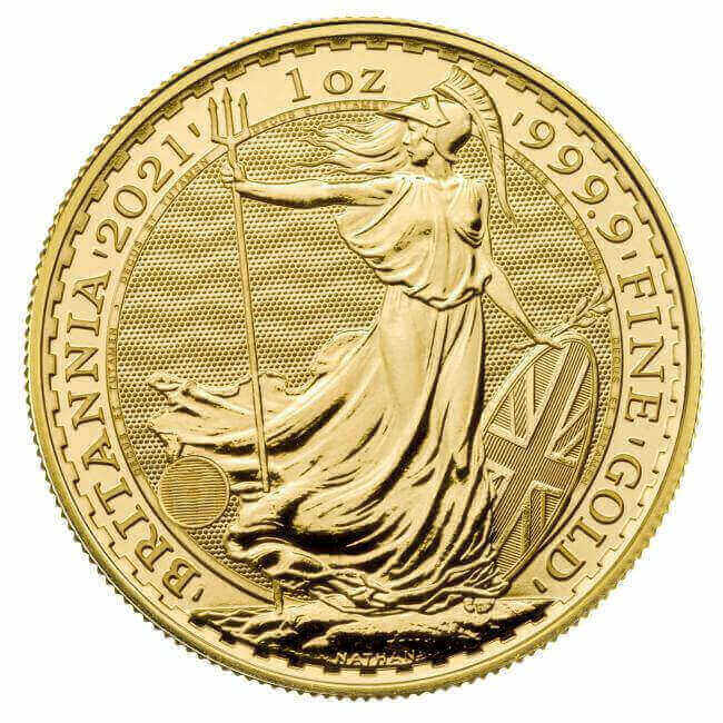 reverse side of the 2021 Gold Britannia coin with its four new coin security features