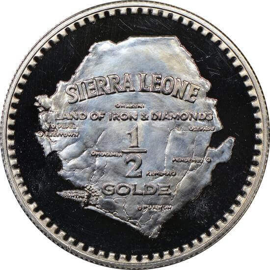 The first palladium coins were issued in 1966 by Sierra Leone