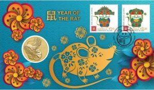 The Year of the Mouse 2020 Stamp and Coin Cover is one of the Perth Mint Stamp & Coin Covers that includes a base metal coin with the design of a bullion coin