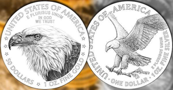 redesigned reverse side of the 2021 Gold and Silver American Eagle coins
