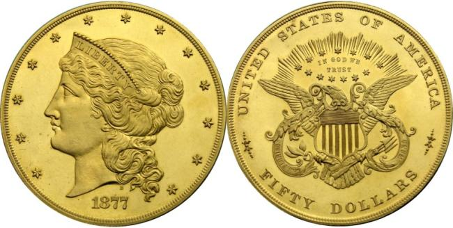 design of the 1877 pattern coins of the $50 Half Union gold coin