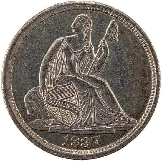 Lady Liberty is depicted in a seated position on the obverse side of the six different Seated Liberty silver coins