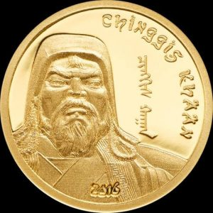 There is probably no better motif for Mongolian gold coins than the image of Genghis Khan!