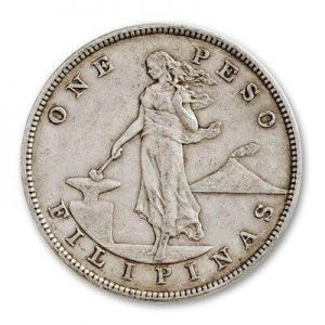 reverse design of the Philippine Silver Pesos as well as the fractional Silver Centavos that were minted between 1903 and 1935