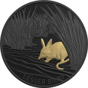 """reverse side of the Lesser Bilby issue of the Royal Australian Mint's nickel-plated silver coins of the """"Echoes of Australian Fauna"""" 2019 coin series"""