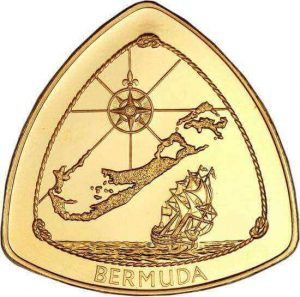 reverse side of the inaugural 1996 gold issue of the Bermuda Shipwreck coin series