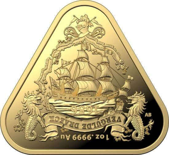 reverse side of the 2nd gold issue of the Australian Shipwreck coins